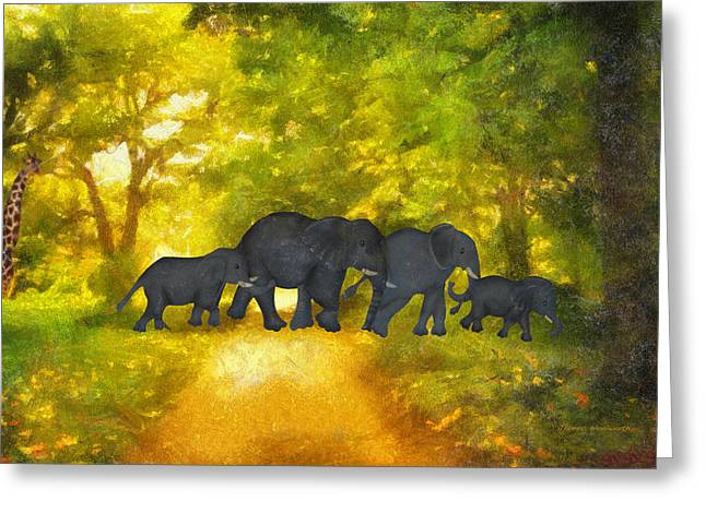 Family Walks Mixed Media Greeting Cards - Elephant Family Jungle Walk Textured Greeting Card by Thomas Woolworth
