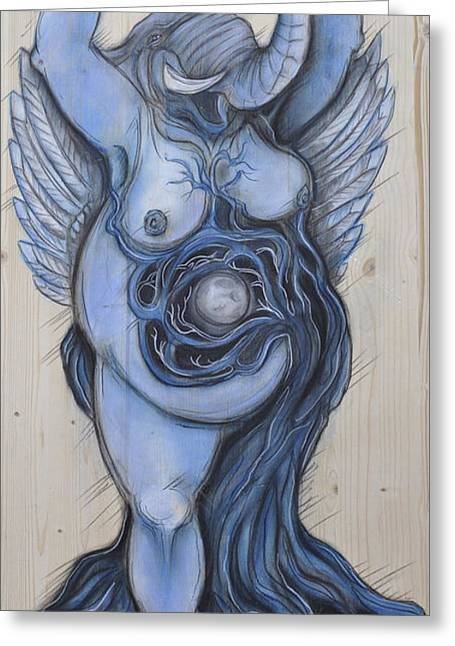 Tree Roots Pastels Greeting Cards - Elephant Goddess Greeting Card by Cait Irwin
