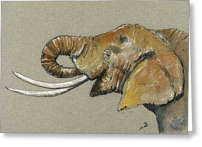 Ivory Greeting Cards - Elephant head  Greeting Card by Juan  Bosco
