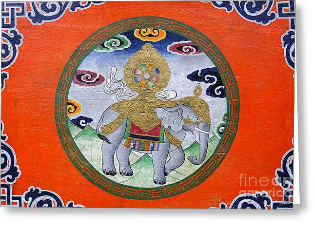 Religious Art Photographs Greeting Cards - Elephant illustration at the Buddhist Labrang Monastery in Sikkim India Greeting Card by Robert Preston