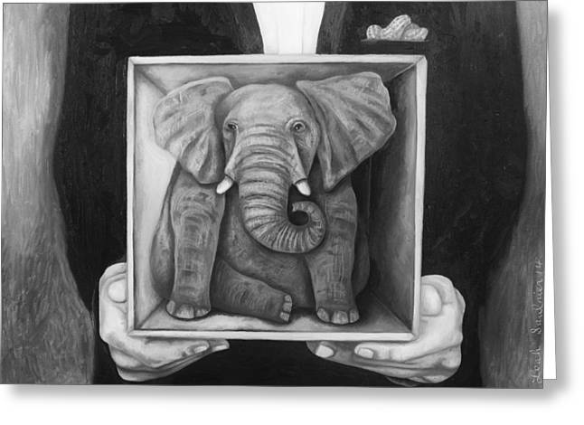 Elephant In The Room Greeting Cards - Elephant In A Box bw Greeting Card by Leah Saulnier The Painting Maniac