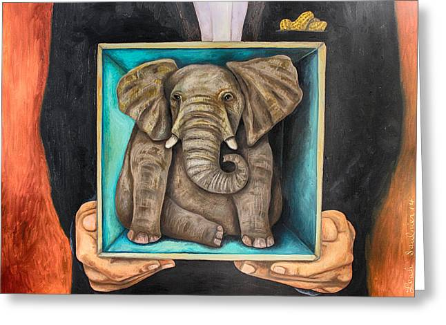 Elephant In A Box Edit 2 Greeting Card by Leah Saulnier The Painting Maniac