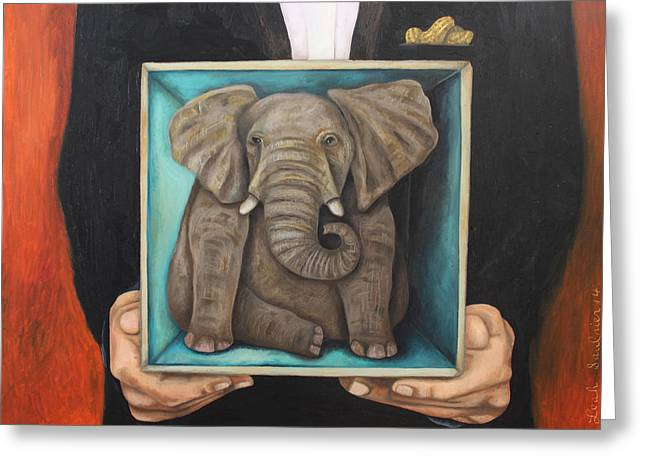 Elephant In The Room Greeting Cards - Elephant In A Box Greeting Card by Leah Saulnier The Painting Maniac