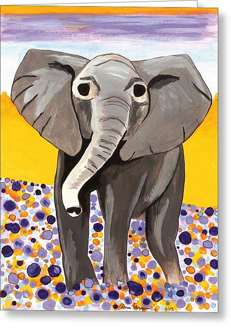 Clever Paintings Greeting Cards - Elephant in a Flower Field Greeting Card by Anna Kaszupski