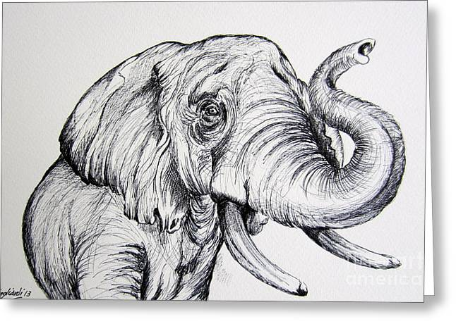 Wild Life Drawings Greeting Cards - Elephant in black and white Greeting Card by Roberto Gagliardi
