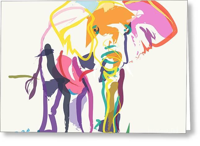 Recently Sold -  - Modern Digital Art Digital Art Greeting Cards - Elephant in color ecru Greeting Card by Go Van Kampen