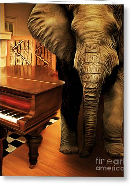 Elephant In The Room Greeting Cards - Elephant In The Room 20141225 vertical Greeting Card by Wingsdomain Art and Photography
