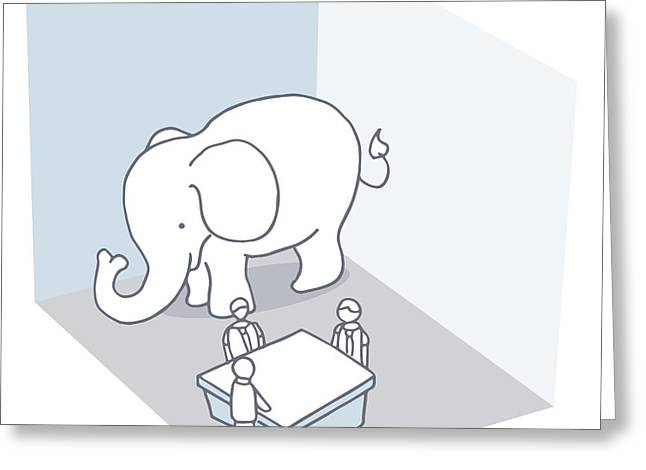 Roadblock Greeting Cards - Elephant In The Room Greeting Card by John Takai