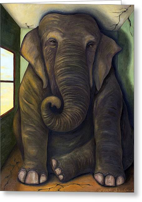Bizarre Greeting Cards - Elephant In The Room Greeting Card by Leah Saulnier The Painting Maniac