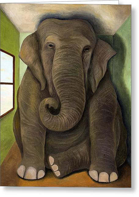 Elephant In The Room Greeting Cards - Elephant In The Room WIP Greeting Card by Leah Saulnier The Painting Maniac