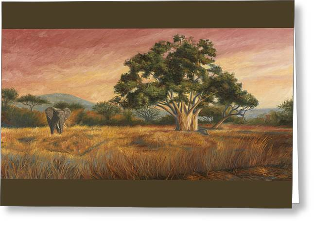 African Elephants Greeting Cards - Elephant In The Wild Greeting Card by Lucie Bilodeau