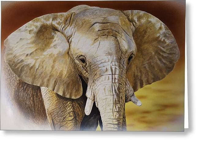 Elephant Greeting Card by Julian Wheat