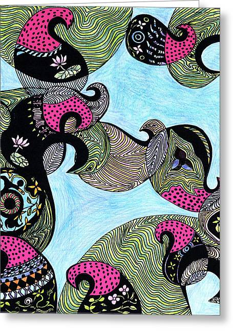 Fresh Green Drawings Greeting Cards - Elephant lotus and bird design Greeting Card by Mukta Gupta