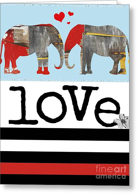 Juvenile Wall Decor Greeting Cards - Elephant Love Typography  Greeting Card by Anahi DeCanio