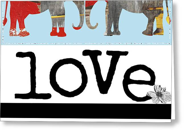 Elephant Love Typography  Greeting Card by Anahi DeCanio