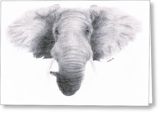 Elephant Greeting Card by Lucy D