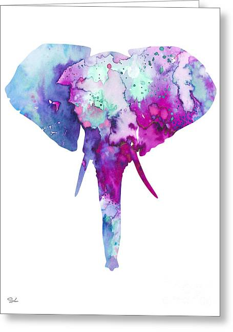 Fine Mixed Media Greeting Cards - Elephant  Greeting Card by Luke and Slavi