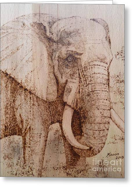 Elephants Pyrography Greeting Cards - Elephant Greeting Card by Manon  Massari