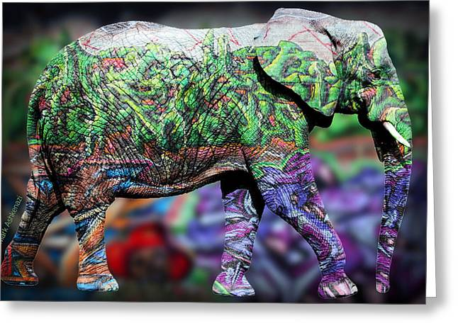 Domestic Digital Greeting Cards - Elephant Greeting Card by Mark Ashkenazi