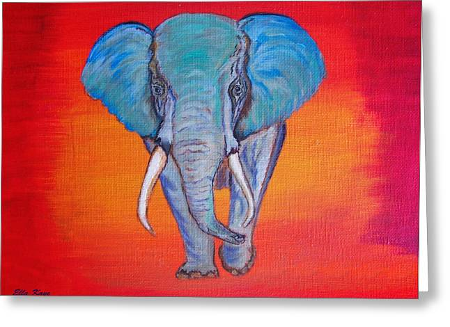 Family Love Drawings Greeting Cards - Elephant Matriarch Greeting Card by Ella Kaye Dickey