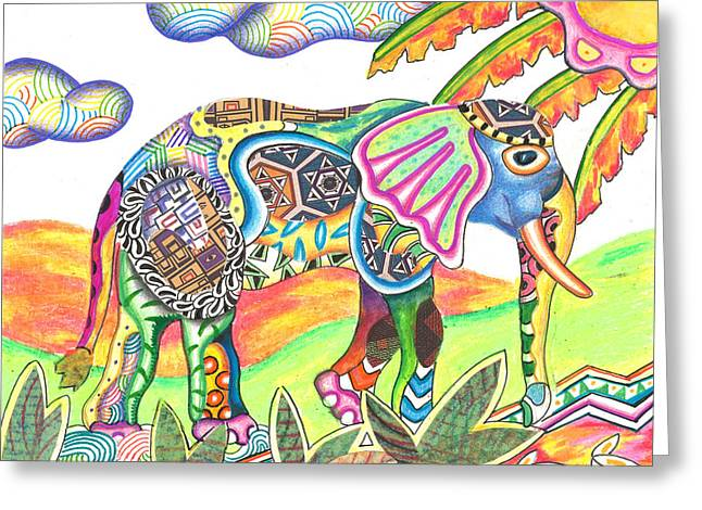 Andrew Michael Greeting Cards - Enitan - Elephant Greeting Card by Michael Andrew Frain