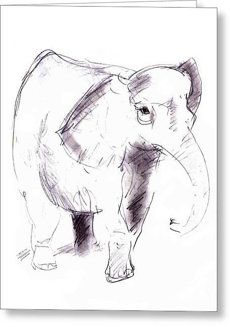 Hand Drawn Greeting Cards - Elephant Greeting Card by Michal Boubin