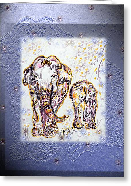 Hand Drawn Greeting Cards - Elephant Mom Greeting Card by Harsh Malik