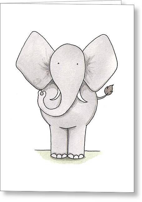Kids Room Drawings Greeting Cards - Elephant Nursery Art Greeting Card by Christy Beckwith