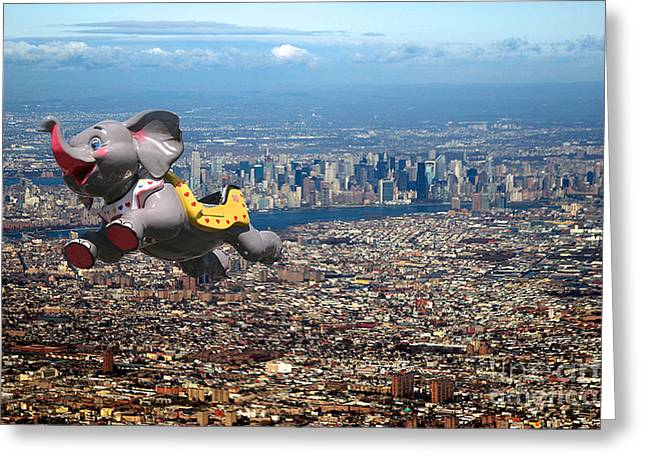 Helium Greeting Cards - Elephant Over New York City #3 Greeting Card by David Wallace Crotty