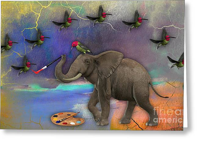 Elephant Painting Birds Out Of Thin Air. Greeting Card by Marvin Blaine