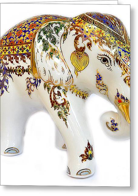 Greeting Cards Ceramics Greeting Cards - Elephant Painting Porcelain Greeting Card by NaturBliss Art Gallery