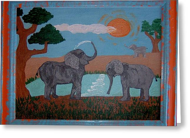 Elephant Paradise  Greeting Card by Yvonne  Kroupa