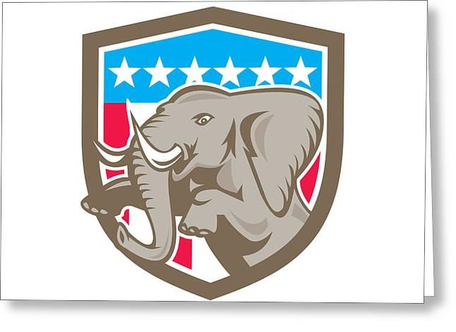 African-american Digital Greeting Cards - Elephant Prancing Stars Shield Retro Greeting Card by Aloysius Patrimonio