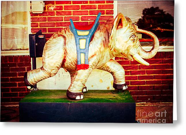 Kiddie Rides Greeting Cards - Elephant Ride Greeting Card by Sonja Quintero