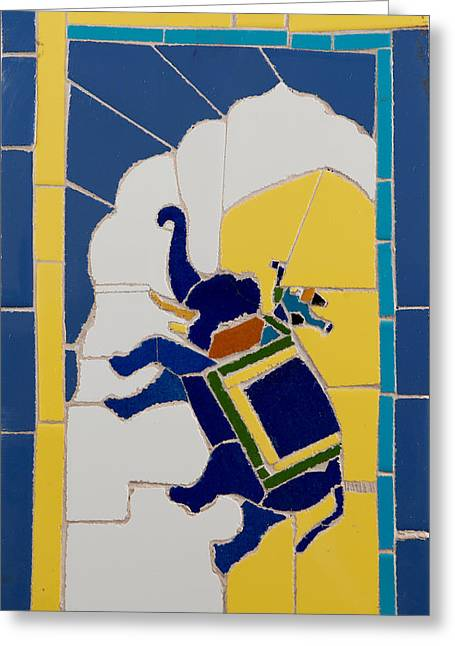 Tile Ceramics Greeting Cards - Elephant rider Greeting Card by Haris Sheikh