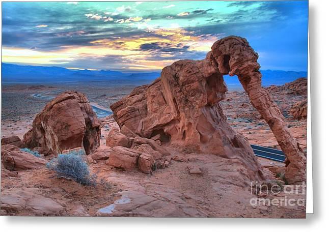 Elephant Rocks Greeting Cards - Elephant Rock Sunrise Greeting Card by Adam Jewell