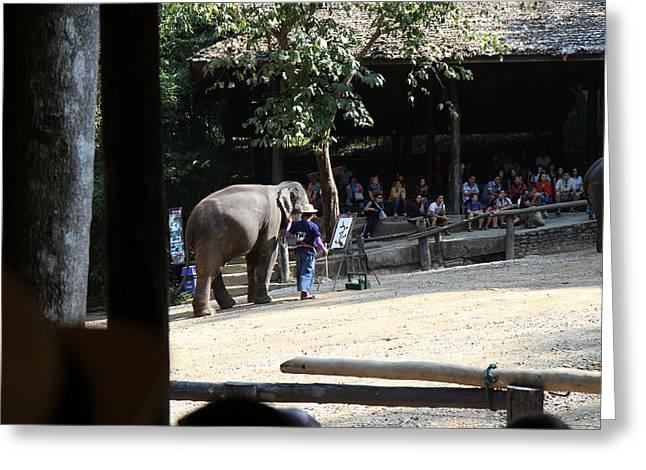 Elephant Show - Maesa Elephant Camp - Chiang Mai Thailand - 011342 Greeting Card by DC Photographer