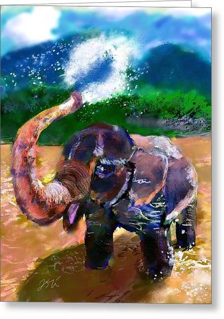 Elephant Shower Greeting Card by Ori Bengal