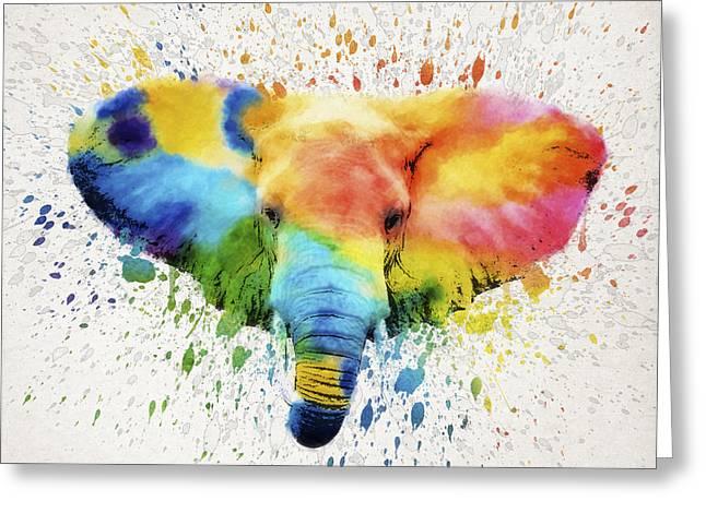 Bathroom Digital Greeting Cards - Elephant Splash Greeting Card by Aged Pixel