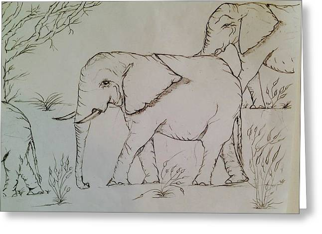 Reserve Drawings Greeting Cards - Elephant Stroll Greeting Card by Joseph Lindsay