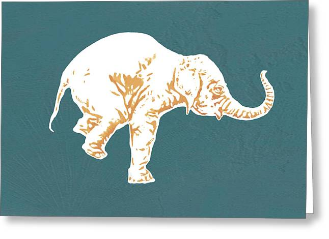Featured Mixed Media Greeting Cards - Elephant - stylised drawing art poster Greeting Card by Kim Wang