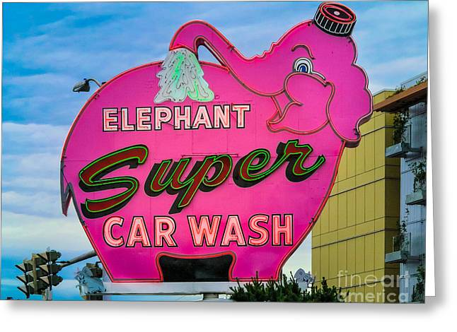 Nostalgic Sign Greeting Cards - Elephant Super Car Wash Greeting Card by Inge Johnsson