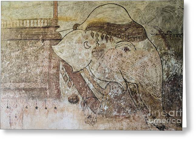 Bagan Greeting Cards - Elephant Temple Fresco Greeting Card by Dean Harte
