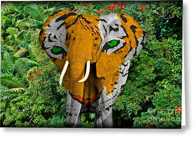 Africa Festival Greeting Cards - Elephant Tiger Abstract Greeting Card by Gary Keesler