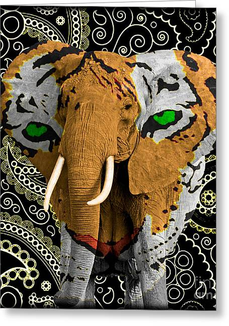 Tigers Tradition Greeting Cards - Elephant Tiger Greeting Card by Gary Keesler