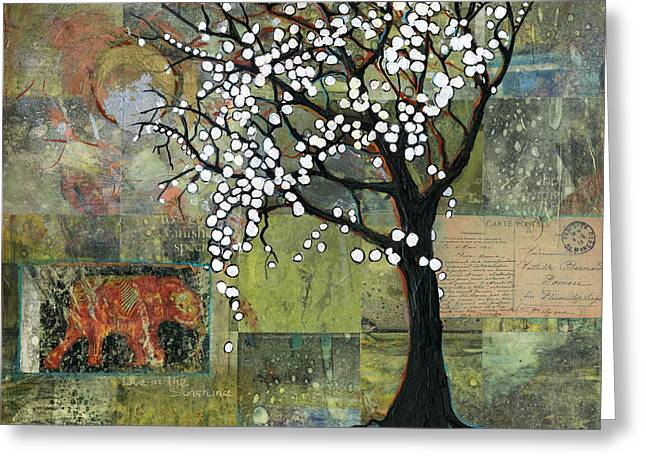 Tree Art Greeting Cards - Elephant Under a Tree Greeting Card by Blenda Studio