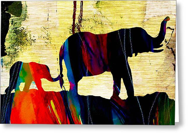Elephant Greeting Cards - Elephant Walk Greeting Card by Marvin Blaine