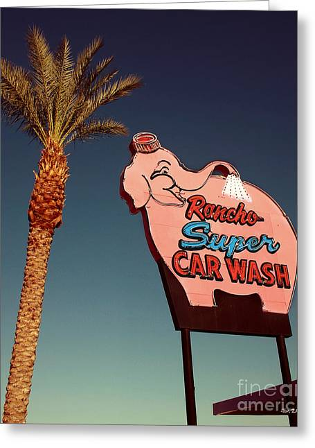 Mirage Greeting Cards - Elephant Car Wash Rancho Mirage California Greeting Card by Jim Zahniser