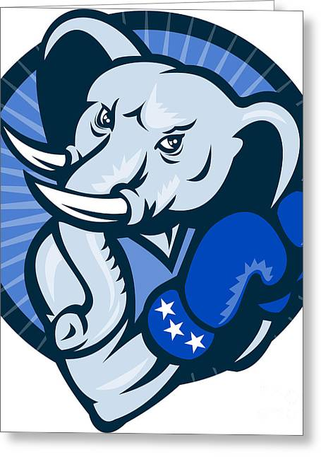 Tisk Greeting Cards - Elephant With Boxing Gloves Democrat Mascot Greeting Card by Aloysius Patrimonio