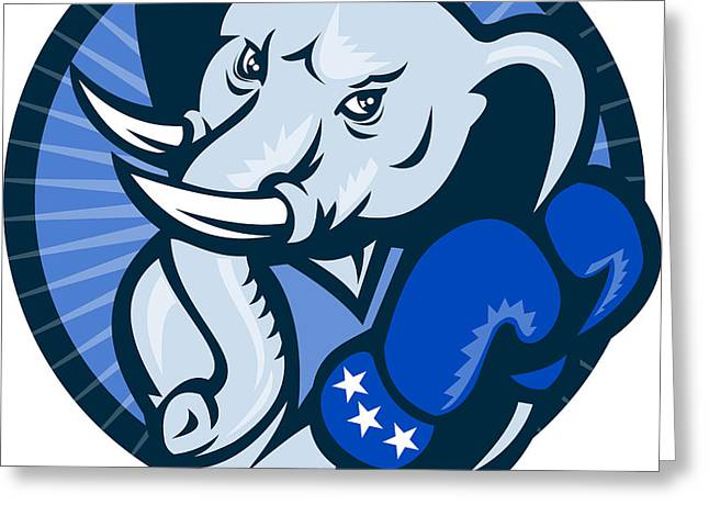 Elephant With Boxing Gloves Democrat Mascot Greeting Card by Aloysius Patrimonio